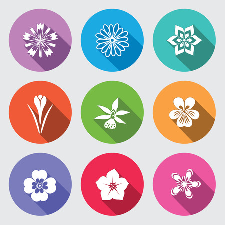 nasturtium: Botany flower set. Camomile, daisy, petunia, chrysanthemum, orchid, forget-me-not, crocus, saffron, cornflower. Floral, herbs symbol. Round blue flat icons with long shadow. Vector isolated. Illustration
