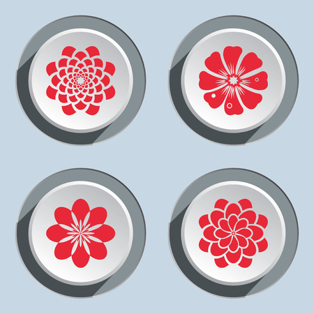 circle flower: Flower circle icons set. Dahlia, aster, daisy, chamomile, gowan. Floral symbol. Round red flat signs on white-gray button. Autumn theme. Vector