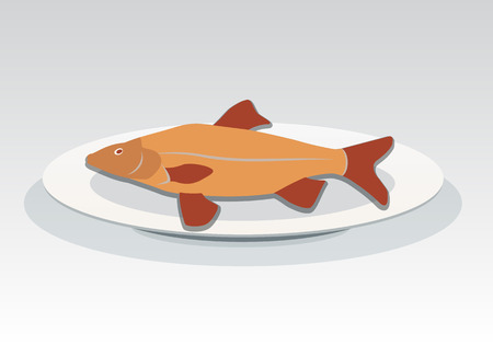 crucian: Fish on plate icon. Seafood dish symbol. Cyprinidae family. Orange, red colored sign with shadow. Vector isolated. Illustration