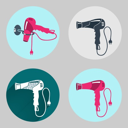 Hair-drier icon set. Professional blow hairdryer with two-pin plug. Modern colored sign on dark grey. Round circles symbols. Vector