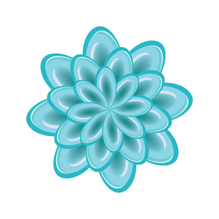 Flower icon. Unusual glass chrysanthemum. Floral astract composition. Turquoise sign on white background. Vector isolated