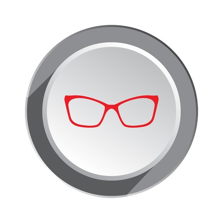 Eye glasses. Optical glass appliance for vision. Red silhouette on round button with shadow. Vector isolated Illustration