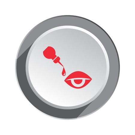 a substance vial: Medical icon. Optical vision symbol of health and medicine. Round button with shadow. Vector