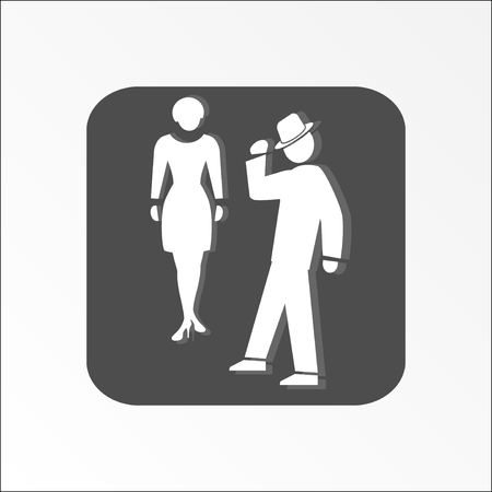 shadow people: Office web icon. Introduction symbol. White two people silhouettes on dark gray background with shadow.  Vector illustration