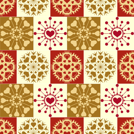 checked background: Christmas seamless pattern. Vintage snowflakes with hearts on checked background. New Year, Valentine day, birthday theme texture. Orange, brown, green, gold, yellow colors. Vector