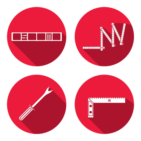 Meetinstrument, zigzag vouwmeter, clinometer, hoek, schroot, pinchbar, lijn, het niveau icoon. Reparatie, moeilijke situatie, controle, meten, bouwhulpmiddel symbool. Ronde cirkel flat pictogram met lange schaduw. Plat ontwerp. Vector