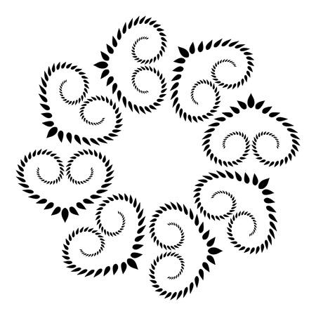 laurel leaf: Laurel heart wreath tattoo. Black stylized ornament, leaf silhouettes on white background. Friendship day, Valentine day, birthday, defense, belief, glory, love symbol. Vector