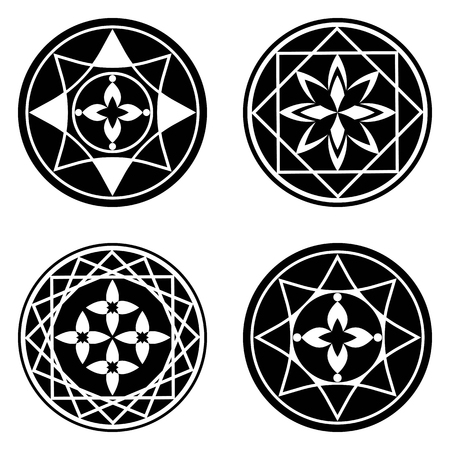 Floral ornament tattoo set. Mandala elements. Flower, star, cross signs in rectangles and circles. Round black stylized ornaments. Harmony, defense, luck, infinity symbol. Vector Illustration