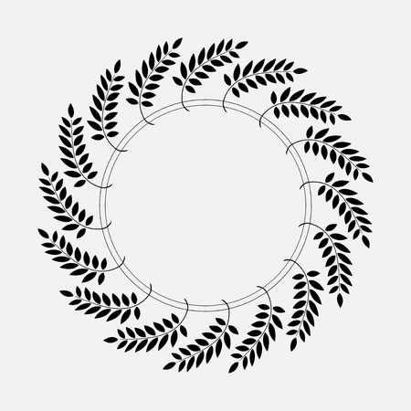 defense: Tattoo of laurel wreath. Black abstract ornament, silhouette on white background.  Defense, peace, glory symbol. Vector  isolated