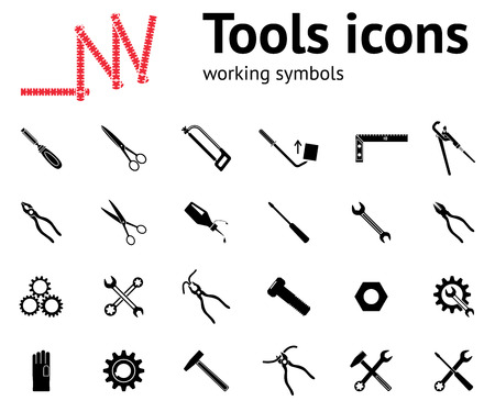 rubber gloves: Tools icons set. Glue, pliers, tongs, wrench key, cogwheel, hammer, rubber gloves, screw bolt, nut, scissors, chisel, saw, pinchbar, angle. Repair fix tool symbols. Vector