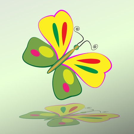Butterfly icon. Colorful silhouette with shadow. Vector  isolated Illustration