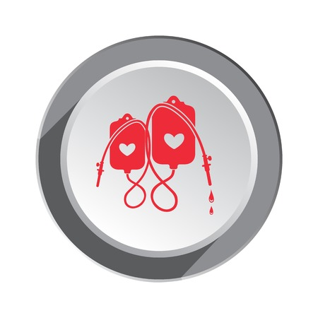 sanatorium: Enema tool icon. SPA weekends symbol for couples. Joke clyster sign. Round button with shadow. Vector Illustration