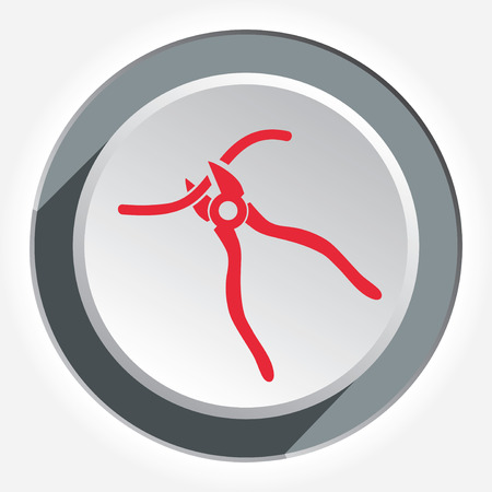nippers: Clipper, nippers tool icon. Tool, working, fix, repair, connection symbol. Round 3d gray button with shadow. Vector