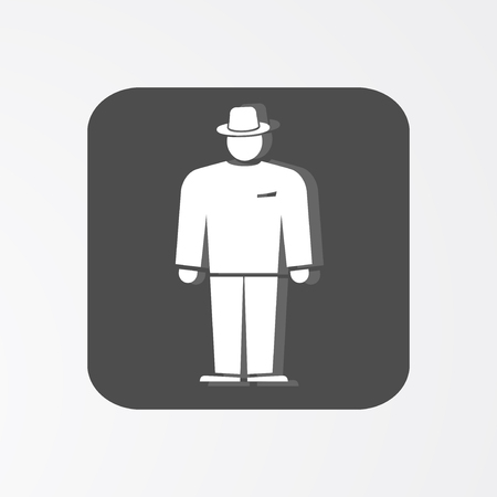 general manager: Businessman web icon. Boss simbol.  White silhouette on dark grey background. Vector illustration