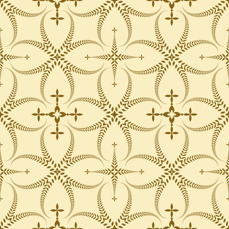 ceremonial: Seamless laurel wreath pattern. Curled, swirl stylized ornament with cross. Lace view texture. Ceremonial, remembrance, winter theme. Gold figure on light yellow background. Vector Illustration