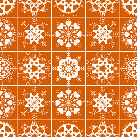 Seamless pattern of heart view snowflakes. Winter, Christmas, Valentine day, birthday texture. Stylized unusual white ornament on orange, gold background. Vector