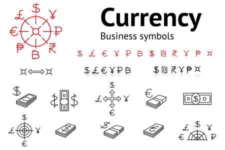 rub: Dollar, Euro, Pound, Yen, Ruble, Rupee, Shexel, Peso, Bitcoin currency icons set. USD, EUR, JPY,  GBP, RUB, INR, ILS, money sign symbols. Finance buttons. Vector Illustration