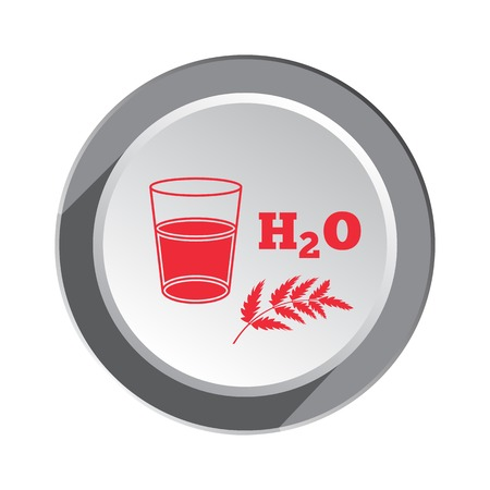 vivifying: Glass of water, herb and water formula icon. Medical symbol. Health, medicin red sign on round button with shadow. Vector