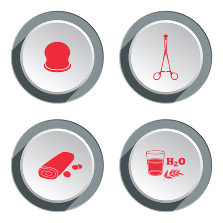 cupping glass cupping: Health, medicine, ambulance icon set. Medical instruments and drug symbol. Round button with shadow. Vector