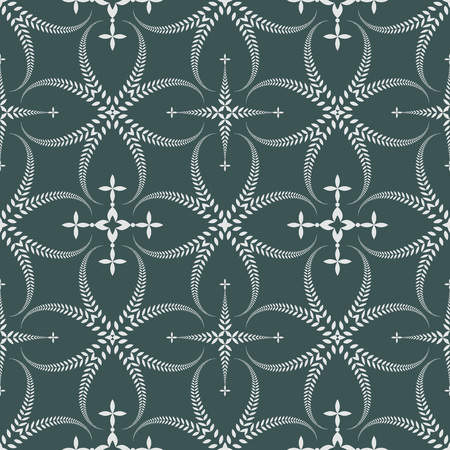 honouring: Seamless laurel wreath pattern. Curled, swirl stylized ornament with cross. Lace view texture. Ceremonial, religious background. White, dark green colored. Vector