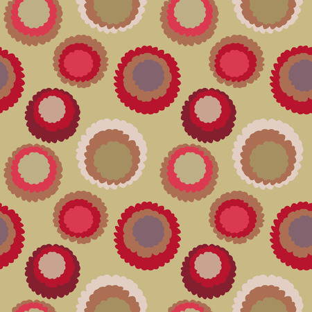 Seamless geometric polka do spotty pattern. Motley texture with circles. Round blots doodles. Brown, red, green soft colors. Winter theme. Vector