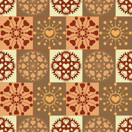 checked background: Christmas seamless pattern of heart snowflakes. New Year, Valentine day, birthday texture. Gold, brown colors. Checked background. Vector