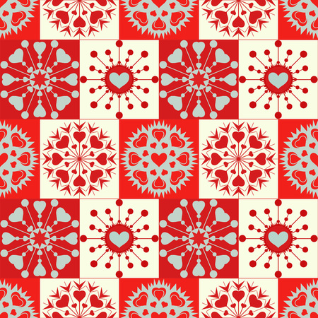 checked background: Christmas seamless pattern of heart snowflakes. New Year, Valentine day, birthday texture. Red, gray, white colors. Checked background. Vector