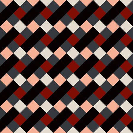 brindled: Seamless geometric checked pattern. Diagonal square, rhombus texture. Patchwork background. Brown, red, white, gray, chocolate, coffee colored. Vector