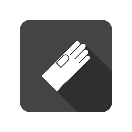 rubber gloves: Rubber gloves icon. Protection mitten symbol. Rounded square flat icon with long shadow. Vector