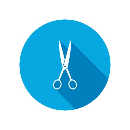 Hairdresser Scissors tool icon. Cut symbol. Round circle flat icon with long shadow. Vector