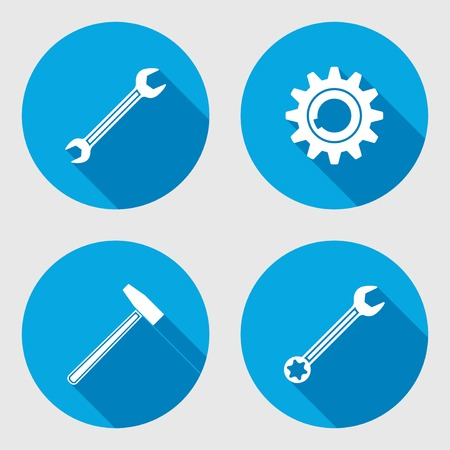 oilcan: Screwdriver, hammer, wrench key icon, bolt nut, glue, oil-can. Repair fix tool symbol. Round circle flat icon with long shadow. Vector