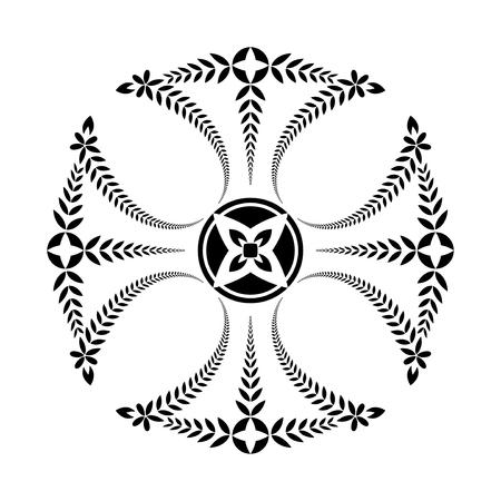 templars: Laurel wreath tattoo. Black ornament. Cross Templars sign on white background.  Defense, peace, glory symbol. Vector Illustration