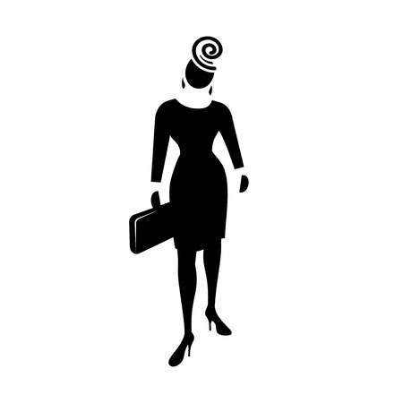 general manager: Busines woman icon. Fashion lady with small bag and hat. Social, people, female symbol. Black silhouette. Vector