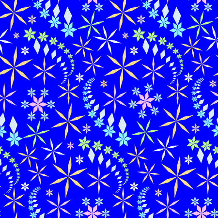 coolness: Seamless christmas pattern. Crystal light snowflake, star silhouettes on bright, blue background. Cold, coolness, winter theme texture. Vector