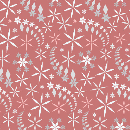 coolness: Seamless christmas pattern. Crystal light gray, white snowflake, star silhouettes on soft, rose, ashy rose background. Cold, coolness, winter theme texture. New Year decoration. Vector