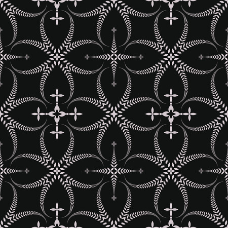 honouring: Seamless laurel wreath pattern. Lace view texture with cross. Ceremonial, religious background. Gray, black colored. Vector Illustration