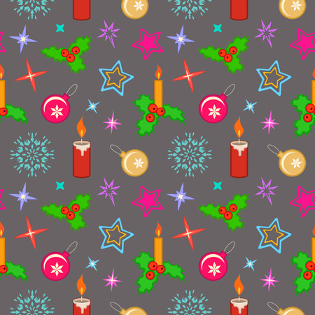 Christmas seamless pattern. Candles, balls, holly berry and snowflakes on gray background. Winter, New Year, sale texture. Vector