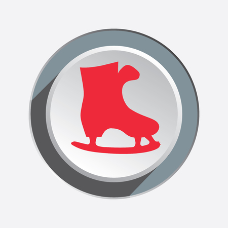 figureskating: Skating icon. Sport, winter, Christmas symbol. Red sign on white-gray button with shadow. Vector