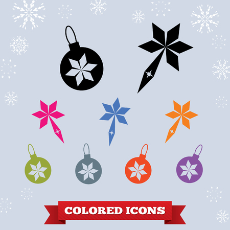 Ball icon. Holiday symbol. New Year, Christmas theme. Colorful skate signs on light blue background with snowflakes. Vector isolated