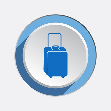 whiteblue: Baggage icon. Luggage for traveling. Info symbol. Blue icons on white-blue button with shadow. Vector isolated