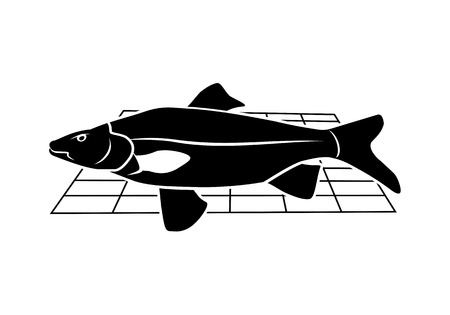 Fish on grille icon. Food, animal symbol. Cyprinidae family. Black sign on white background. Vector isolated. Illustration
