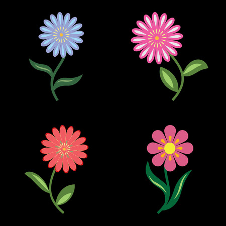 daisy pink: Flower icons set. Chamomile, daisy. Floral symbols with leaves. Blue, lilac, pink, orange, green colored plants on black. Vector illustration