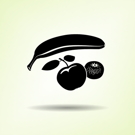 Banana, Mandarin icon. Four fruits. Black silhouette with shadow on light green backdround. Flat design. Vector isolated