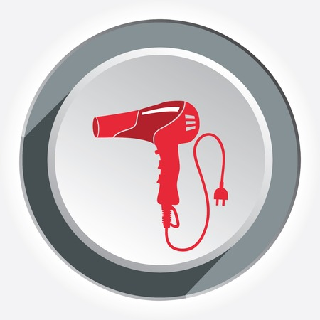 blow dryer: Hairdryer, blow dryer with two-pin plug icon. Professiona hairdresser tool symbol. Red sign on round circle white-gray button with shadow. Vector