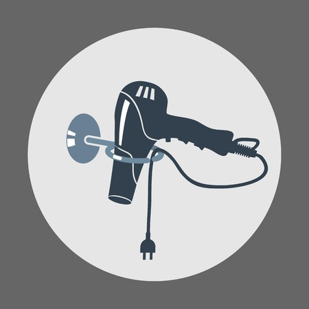 Hairdryer, blow dryer with two-pin plug on stand icon. Professiona hairdresser tool symbol. Round gray colored sign. Vector Illustration