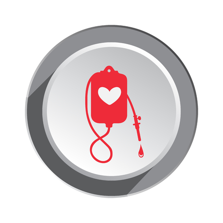 sanatorium: Enema tool icon. Joke clyster sign. Sanitary weekends for couples, rehabilitation symbol. Red sign on round white-gray button. Vector