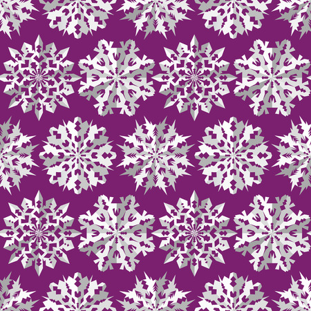 Origami snowflake seamless pattern. Christmas, New Year texture. Paper cut out three-dimensional white signs on lilac background. Vector Illustration