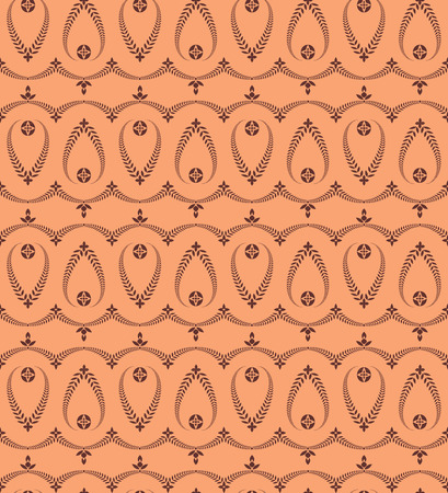 ceremonial: Religion seamless pattern. Laurel wreath, lace view texture with cross. Ceremonial, funeral background. Swirl stylized ornament. Orange, brown colored. Vector