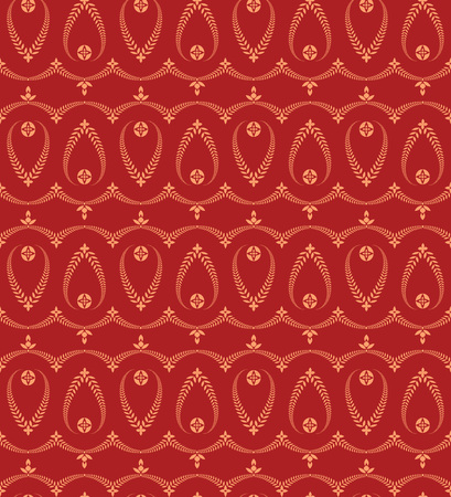 honouring: Religion seamless pattern. Laurel wreath, lace view texture with cross. Ceremonial, funeral background. Swirl stylized ornament. Orange, red colored. Vector