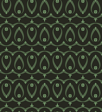 ceremonial: Seamless laurel wreath pattern of cross ornament. Lace view texture. Ceremonial, religious background. Green and black colored. Vector